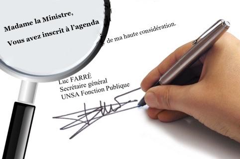lettre unsa ministre FP